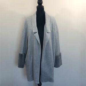 Zara faux fur cuff sweater coat jacket (L)